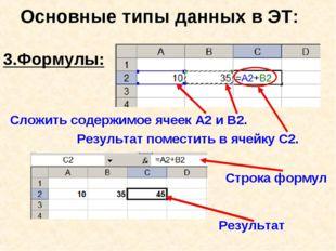 Основные типы данных в ЭТ: 3.Формулы: Сложить содержимое ячеек А2 и В2. Рез