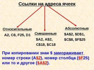 Ссылки на адреса ячеек Относительные Абсолютные Смешанные А2, С8, F25, D1 $A2