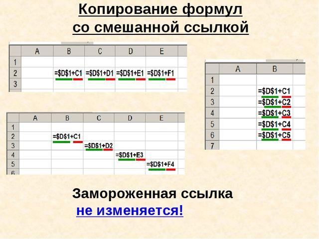 Копирование формул со смешанной ссылкой Замороженная ссылка не изменяется!