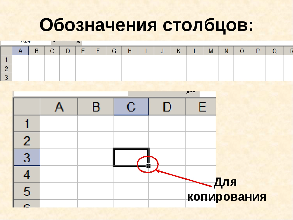 Обозначения столбцов: Для копирования