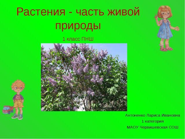 Растения - часть живой природы 1 класс ПНШ Антоненко Лариса Ивановна 1 катего...