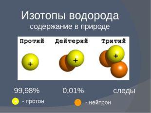 Изотопы водорода содержание в природе 99,98% 0,01% следы + - протон - нейтрон