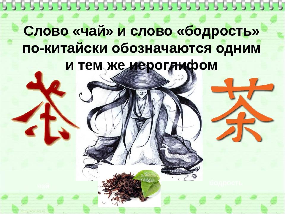 чай бодрость Слово «чай» и слово «бодрость» по-китайски обозначаются одним и...
