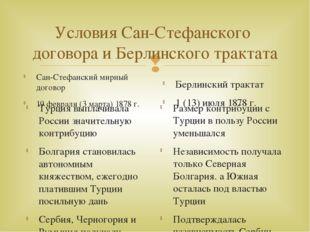 Условия Сан-Стефанского договора и Берлинского трактата Сан-Стефанский мирный