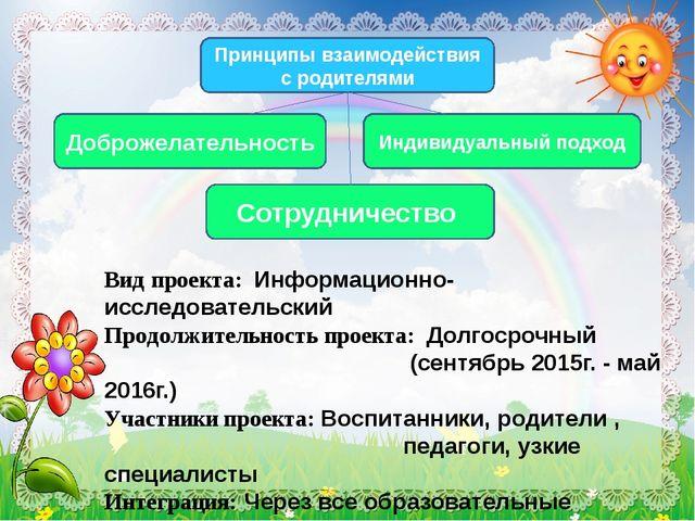 Вид проекта: Информационно-исследовательский Продолжительность проекта: Долг...