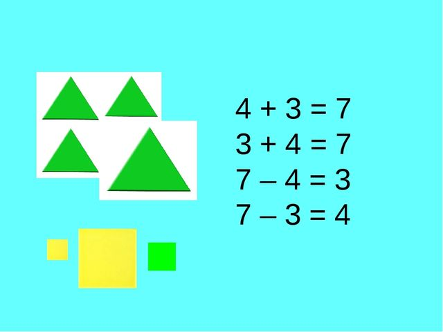 4 + 3 = 7 3 + 4 = 7 7 – 4 = 3 7 – 3 = 4
