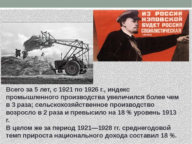 Всего за 5 лет, с 1921 по 1926 г., индекс промышленного производства увеличил...