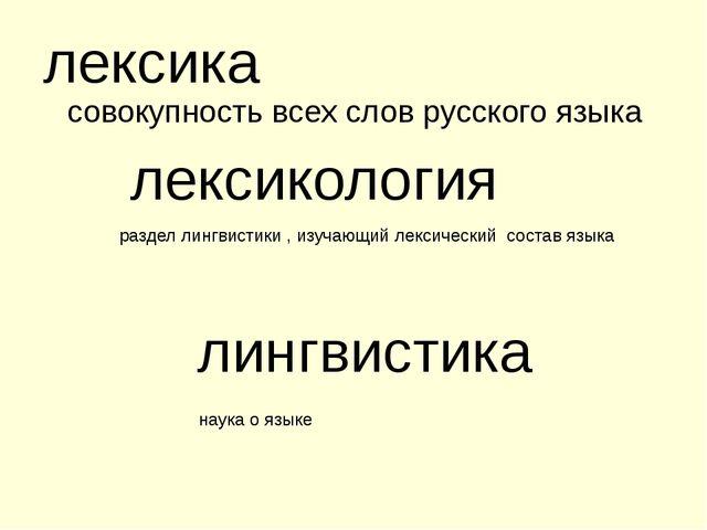 совокупность всех слов русского языка лексика раздел лингвистики , изучающий...