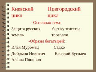 Киевский Новгородский цикл цикл - Основная тема: Защита русских быт купечеств