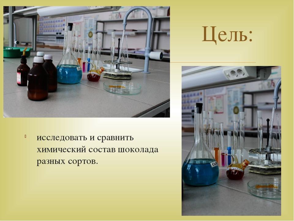 исследовать и сравнить химический состав шоколада разных сортов. Цель: 