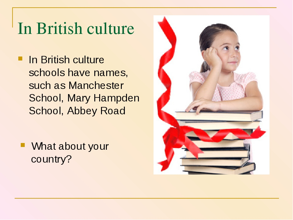 In British culture In British culture schools have names, such as Manchester...