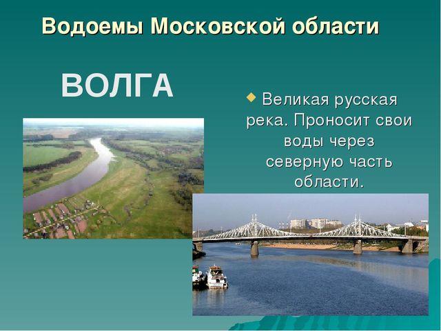 Великая русская река. Проносит свои воды через северную часть области. ВОЛГА...