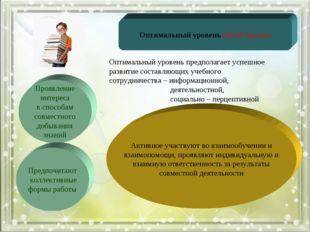 Оптимальный уровень (45-66 баллов) Проявление интереса к способам совместного