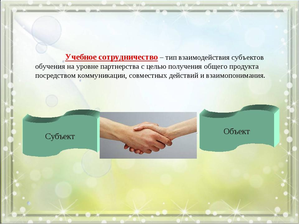 Учебное сотрудничество – тип взаимодействия субъектов обучения на уровне пар...