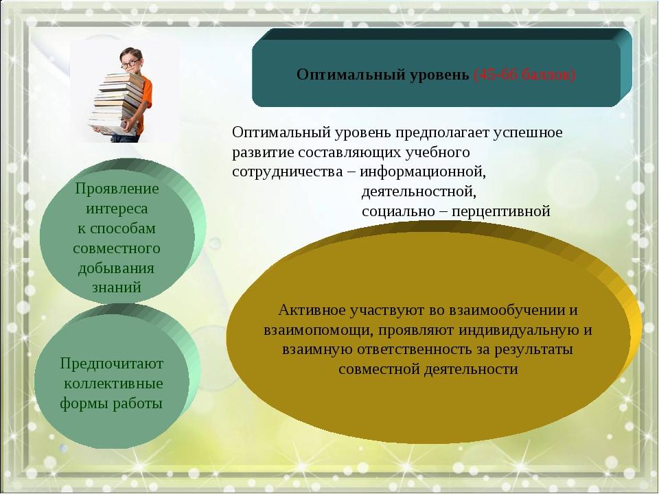 Оптимальный уровень (45-66 баллов) Проявление интереса к способам совместного...