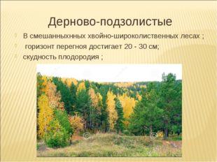 Дерново-подзолистые В смешанныхнных хвойно-широколиственных лесах ; горизонт