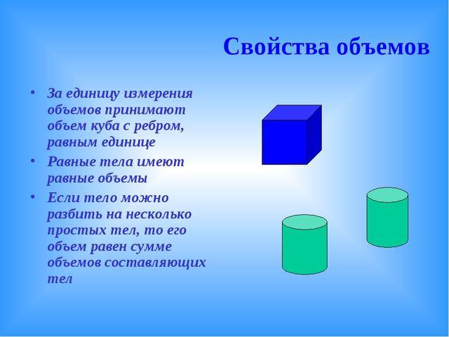 За единицу измерения объемов принимают объем куба с ребром, равным единице Р...