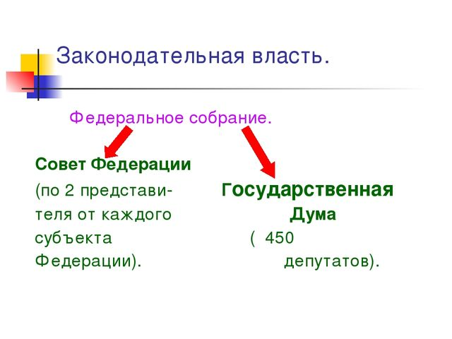Законодательная власть. Федеральное собрание. Совет Федерации (по 2 представи...