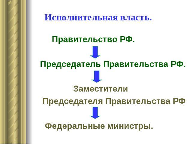 Исполнительная власть. Правительство РФ. Председатель Правительства РФ. Замес...