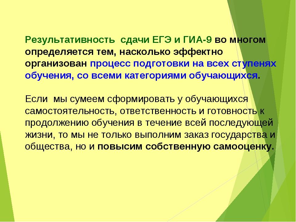 Результативность сдачи ЕГЭ и ГИА-9 во многом определяется тем, насколько эффе...