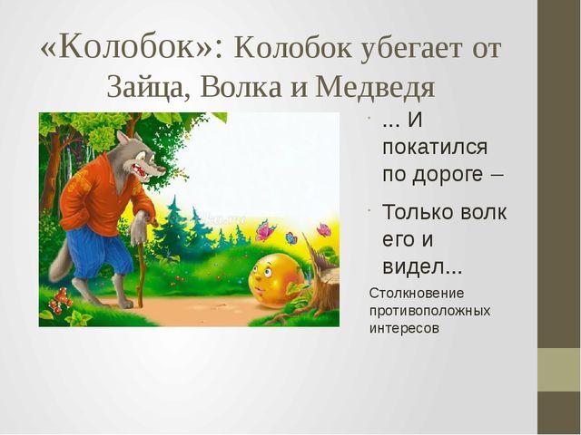 «Колобок»: Колобок убегает от Зайца, Волка и Медведя ... И покатился по дорог...