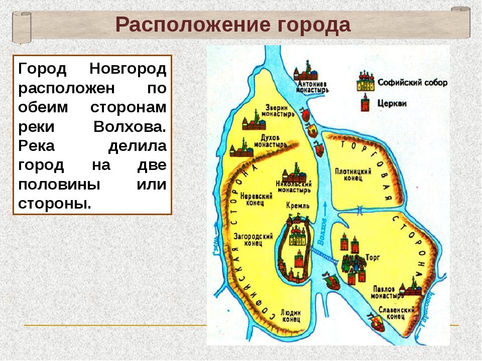Расположение города Город Новгород расположен по обеим сторонам реки Волхова....