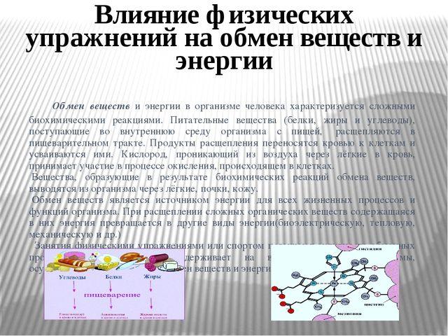Обмен веществ и энергии в организме человека характеризуется сложными биохим...