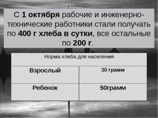 С 1 октября рабочие и инженерно-технические работники стали получать по 400 г
