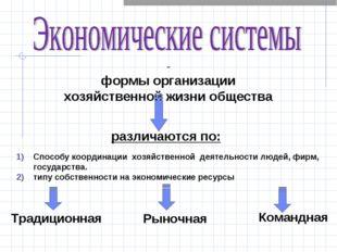 - формы организации хозяйственной жизни общества Способу координации хозяйств