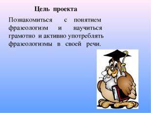 Цель проекта Познакомиться с понятием фразеологизм и научиться грамотно и ак