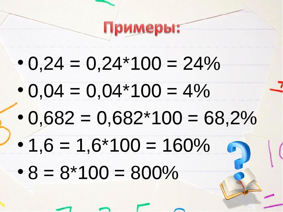 0,24 = 0,24*100 = 24% 0,04 = 0,04*100 = 4% 0,682 = 0,682*100 = 68,2% 1,6 = 1,...