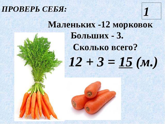 ПРОВЕРЬ СЕБЯ: Маленьких -12 морковок Больших - 3. Сколько всего? 12 + 3 = 15...