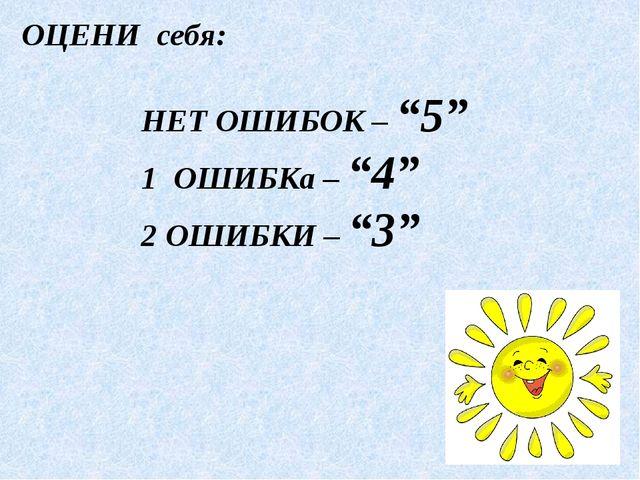 "ОЦЕНИ себя: НЕТ ОШИБОК – ""5"" 1 ОШИБКа – ""4"" 2 ОШИБКИ – ""3"""