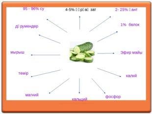 4-5% құрғақ зат 95 - 96% су 2- 25% қант 1% белок Эфир майы калий фосфор кальц