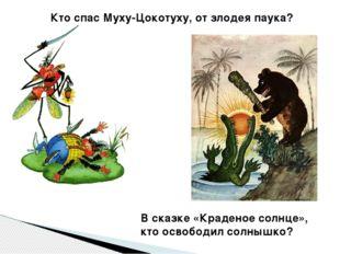 Кто спас Муху-Цокотуху, от злодея паука? В сказке «Краденое солнце», кто осво