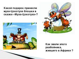 Какой подарок принесли мухе-Цокотухе блошки в сказке «Муха-Цокотуха»? Как зва