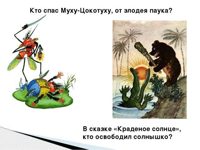 Кто спас Муху-Цокотуху, от злодея паука? В сказке «Краденое солнце», кто осво...