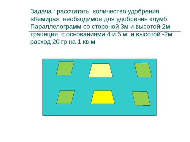 Задача : рассчитать количество удобрения «Кемира» необходимое для удобрения к...