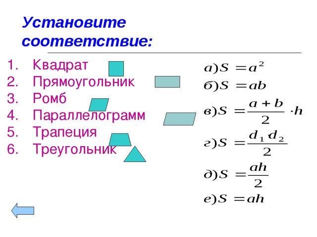 Установите соответствие: Квадрат Прямоугольник Ромб Параллелограмм Трапеция Т...