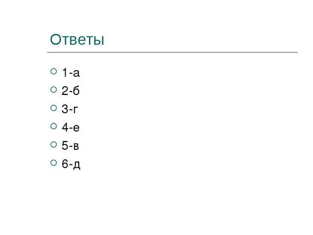 Ответы 1-а 2-б 3-г 4-е 5-в 6-д