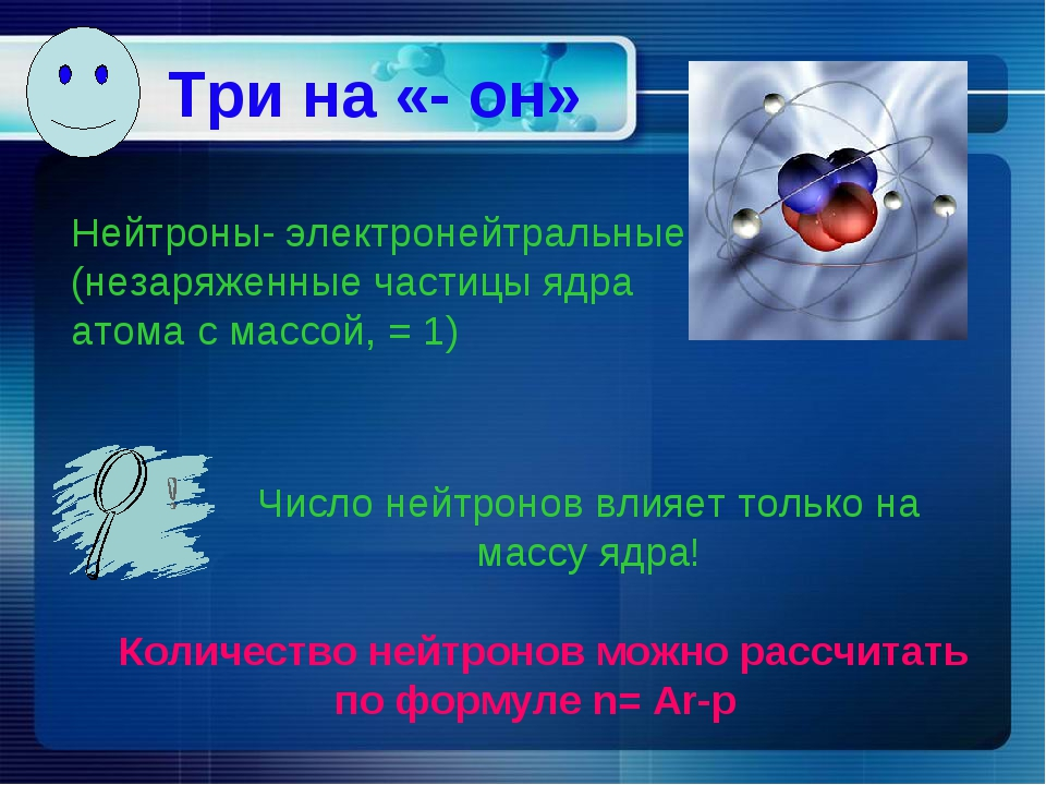 Три на «- он» Нейтроны- электронейтральные (незаряженные частицы ядра атома с...