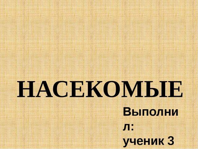 НАСЕКОМЫЕ Выполнил: ученик 3 «Б» класса Сердюк Максим