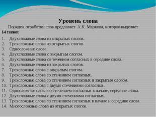 Уровень слова Порядок отработки слов предлагает А.К. Маркова, которая выделяе