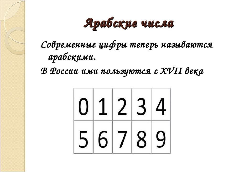Арабские числа Современные цифры теперь называются арабскими. В России ими по...