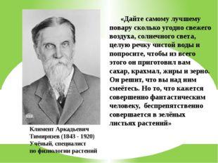 Климент Аркадьевич Тимирязев (1843 - 1920) Учёный, специалист по физиологии р