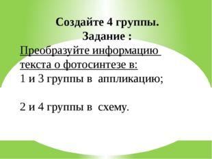 Создайте 4 группы. Задание : Преобразуйте информацию текста о фотосинтезе в: