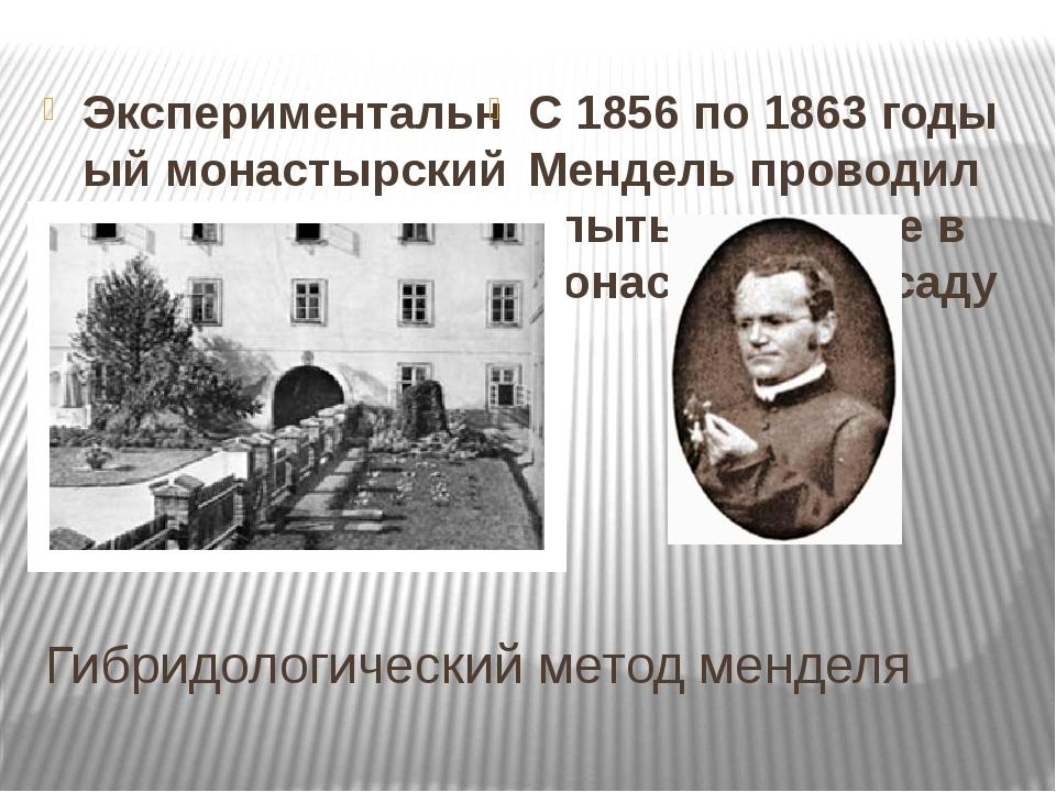 Гибридологический метод менделя Экспериментальный монастырский сад С 1856 по...