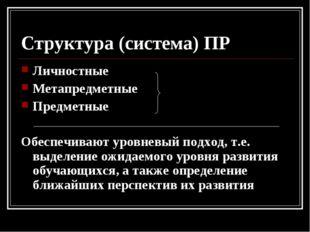 Структура (система) ПР Личностные Метапредметные Предметные Обеспечивают уров