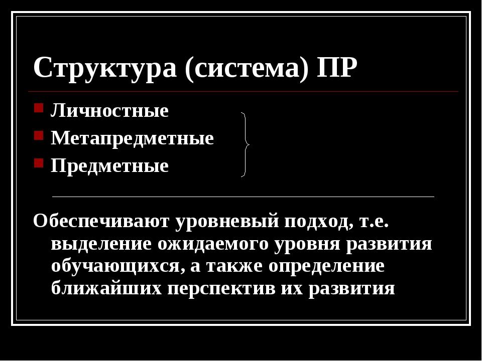 Структура (система) ПР Личностные Метапредметные Предметные Обеспечивают уров...