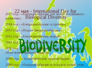 22 мая - International Day for Biological Diversity 2015 год - «Биоразнообра